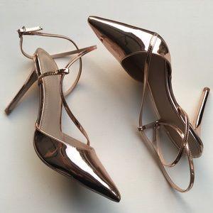 Asos Rose gold heels size 7 metallic ankle strap